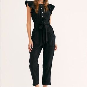 Free People Black Louis Jumpsuit